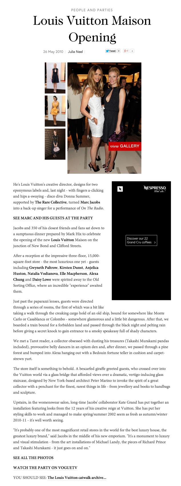 Vogue.com, Louis Vuitton Maison Launch Party