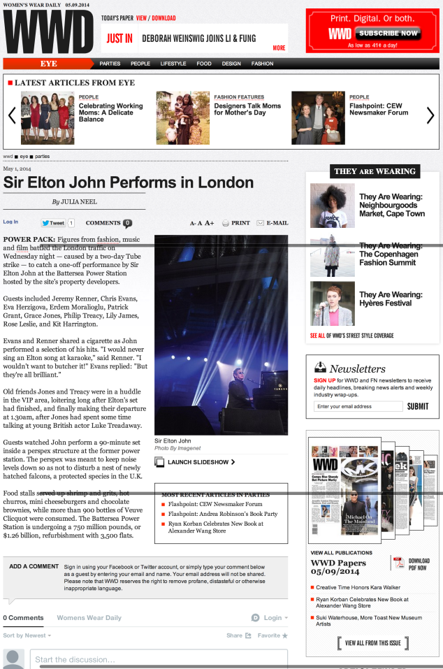 WWD, Elton John Performs at the Battersea Power Station
