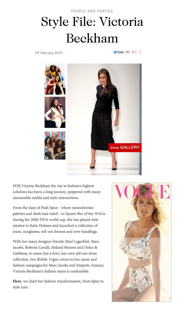 Vogue.com, Victoria Beckham Style File