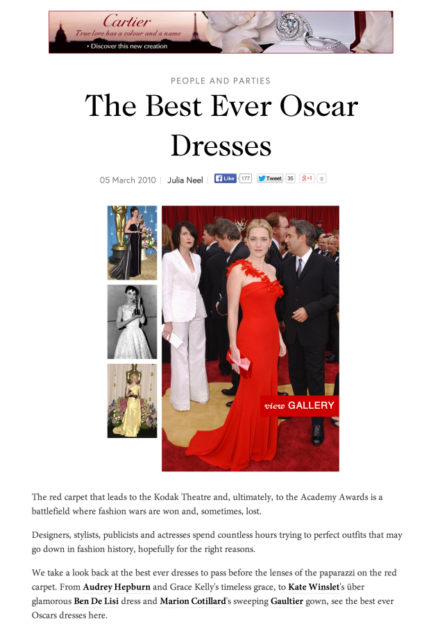 Vogue.com, Best Ever Oscar Dresses