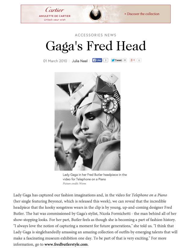 Vogue.com, Fred Butler for Lady Gaga