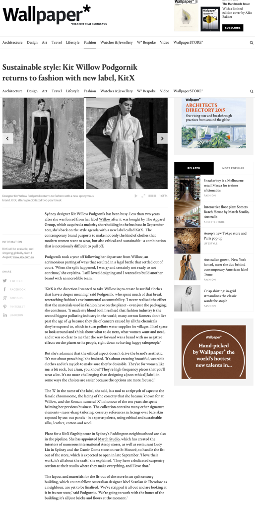 Sustainable style Kit Willow Podgornik returns to fashion with new label KitX Fashion Wallpaper Magazine Jul 23 2015