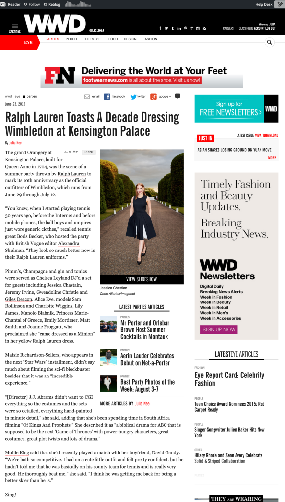 Ralph Lauren's Wimbledon Anniversary Party Draws Jessica Chastain   WWD June 23 2015